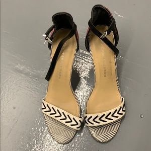 Chinese Laundry strappy  heels with tribal print